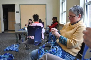 Crocheting at Delridge Library