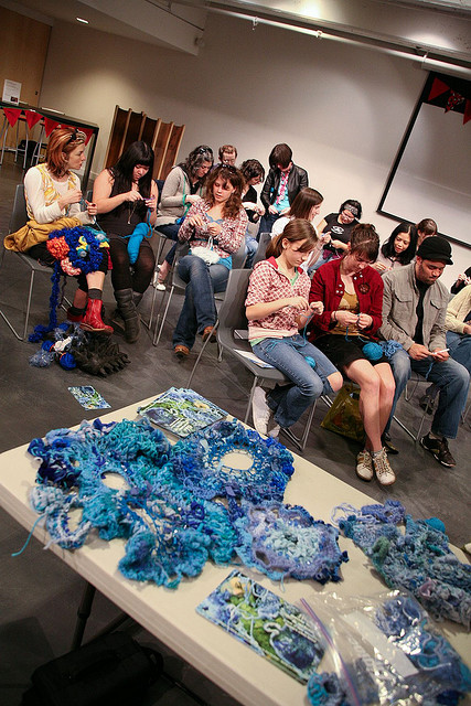 Crocheting at Museum of Contemporary Craft, Portland